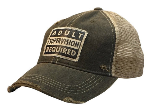 Distressed Trucker Cap - Black - Adult Supervision Required