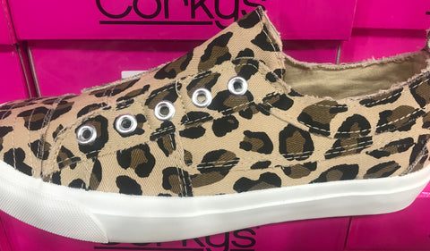 Corkys Leopard tennis shoes lace less