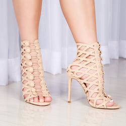 Cut-Out Caged Heels - Nude