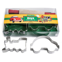 Boys Kids Cooking Set - Apron, Cookie Cutters and Rolling Pin.