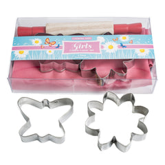 Girls Kids Cooking Set - Apron, Cookie Cutters and Rolling Pin.