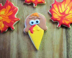 Turkey Face Cookie made from an Icecream Cone