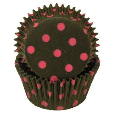 Black with Hot Pink Spots Baking Cups - 50 Pack