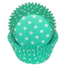 Green Polka Dot Baking Cups - 50 Pack