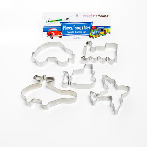 Planes Trains & Auto 5pce Stainless Steel Cookie Cutter Pack