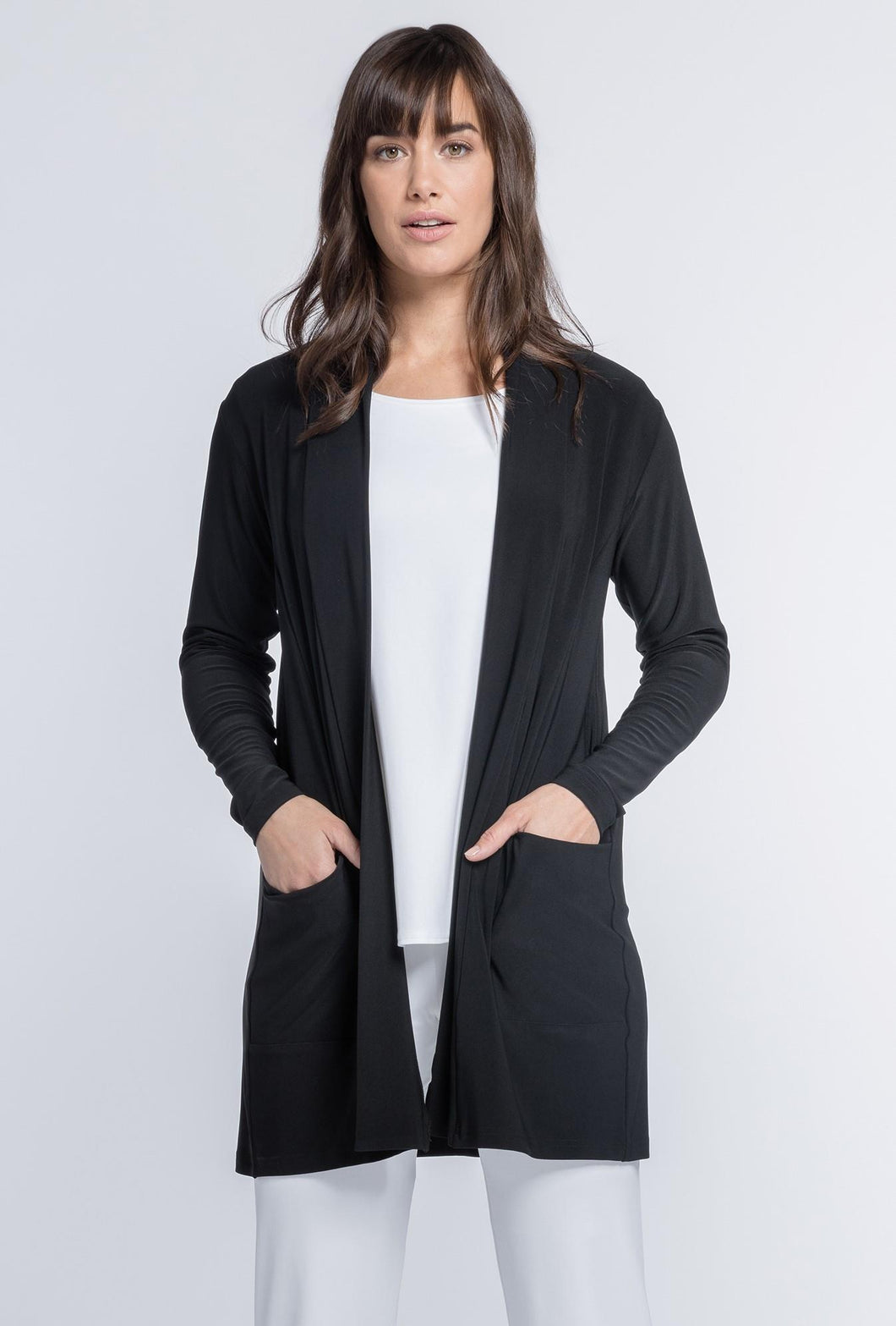 Sympli Go To Cardi Long #25111 at www.threewildwomen.ca | Free shipping over $200 North America