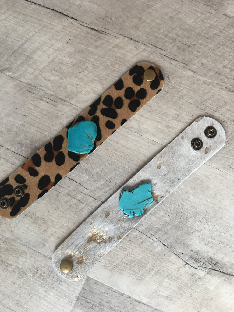 Cowhide/Turquoise Cuff