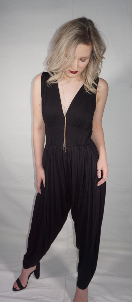Deep V-Neck Sleeveless Jumpsuit
