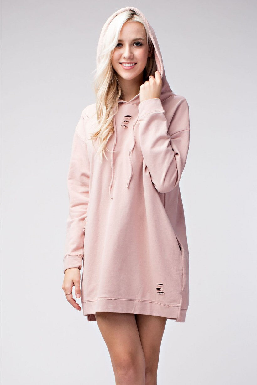 Blushing For You Distressed Hooded Dress