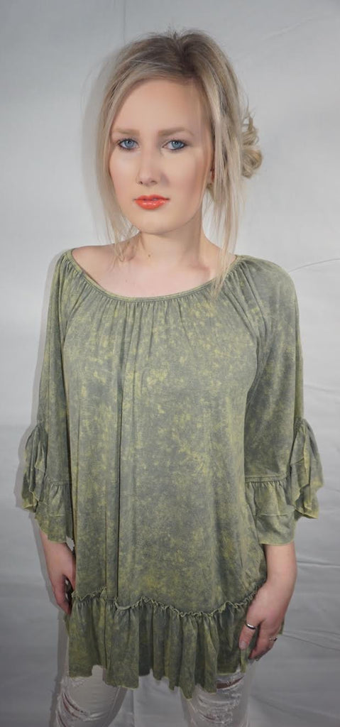Stonewashed Off the Shoulder Top