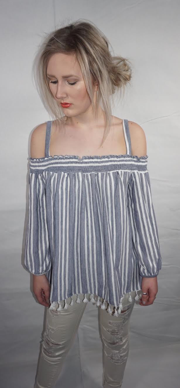 Dusty Blue Cold Shoulder Top