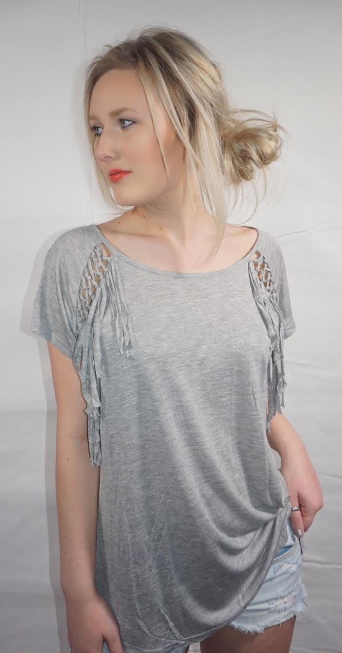 Oversized Fringe Detailed Tee