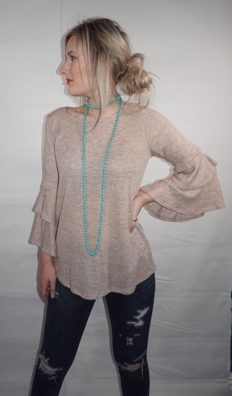 Ruffled Bell Sleeve Knit Top
