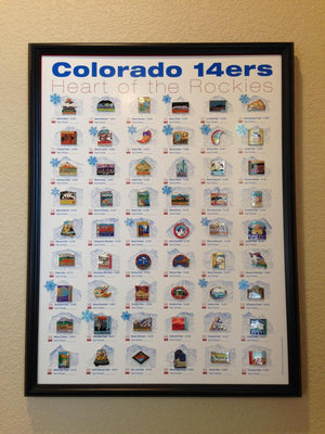Complete 14er pin Collection—All 54 Peaks (Frame Not Included)