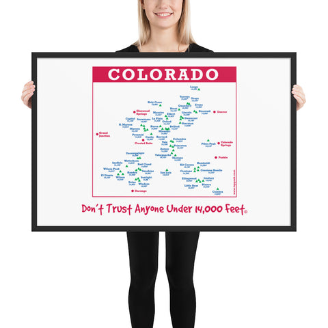 Image of Framed Colorado 14er matte paper poster