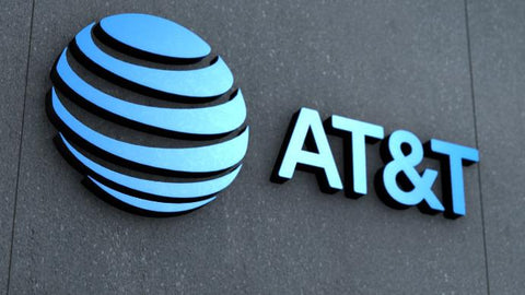 AT&T logo on a storefront.