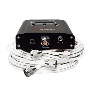 HiBoost 4K Smart Link signal booster and low loss coaxial cables.
