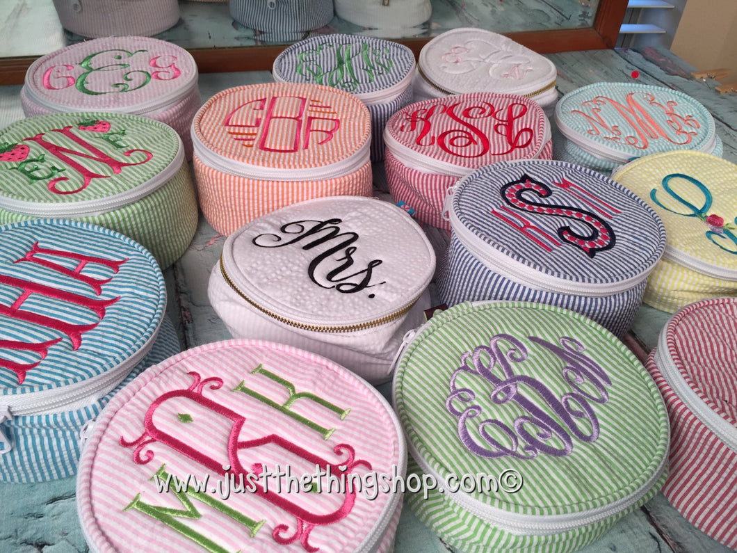 button bag monogram seersucker round zipper