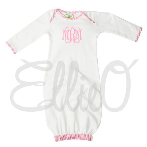 Classic Seersucker Trim Monogram Baby Gown - Just The Thing Shop