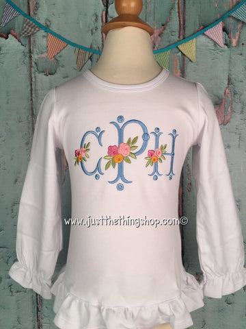 Floral Vintage Monogram Girls Shirt - Just The Thing Shop