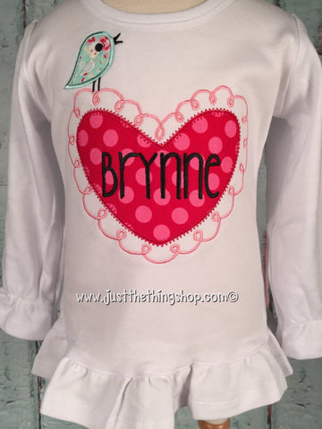 Valentine Tweet Applique Girls Shirt