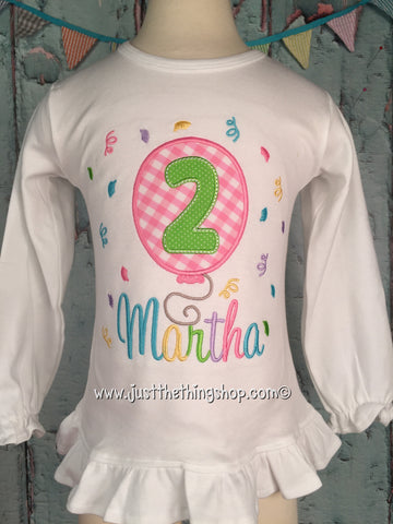 Birthday Balloon Applique Girls Shirt - Just The Thing Shop