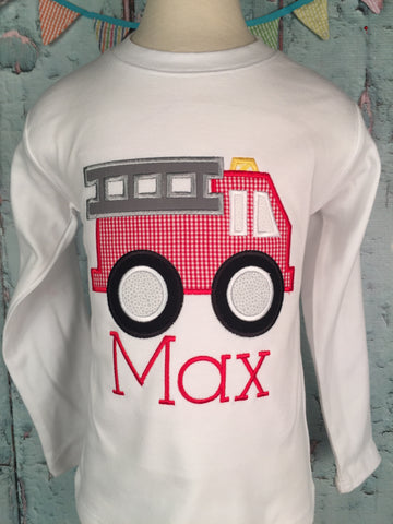 Fire Truck Applique Boys Shirt - Just The Thing Shop