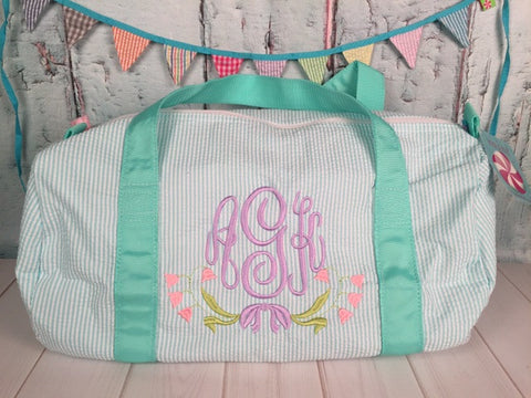 Floral Swag Monogram For Girls Duffel - Just The Thing Shop