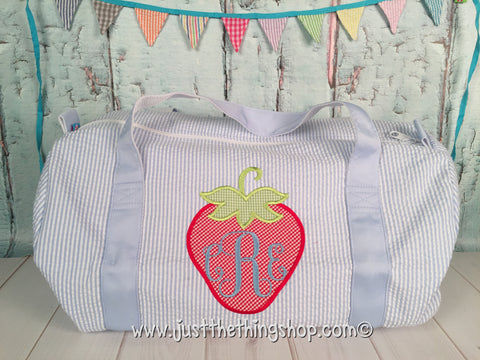 Strawberry Monogram Duffel - Just The Thing Shop