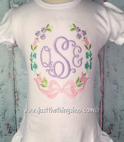 Floral Wreath Monogram Girls Shirt - Just The Thing Shop