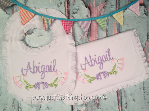 Floral Swag Ruffle Trim Bibs and Burps - Just The Thing Shop