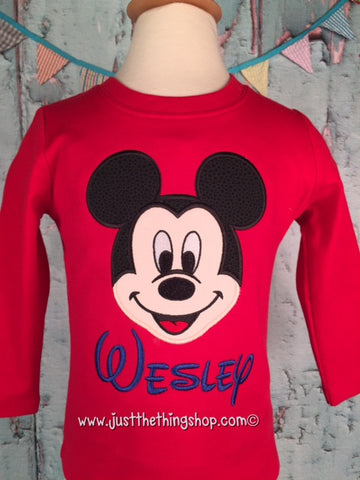 Mickey Mouse Applique Boys Shirt - Just The Thing Shop