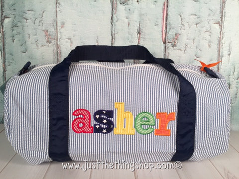 Applique Name Classic Font Duffel - Just The Thing Shop