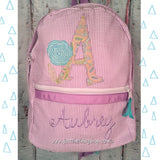 Scribble Rose Applique Monogram Backpack - Just The Thing Shop