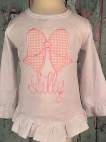 Bow Monogram Applique Girls Shirt - Just The Thing Shop