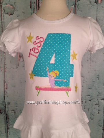 Gymnastics Girl Birthday Applique Girls Shirt - Just The Thing Shop