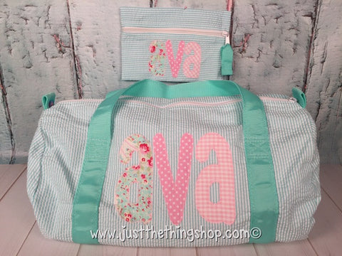 Applique Name Tall Skinny Font Duffel - Just The Thing Shop