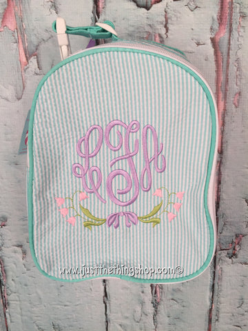 Floral Swag Monogram Gumdrop Lunch Box - Just The Thing Shop