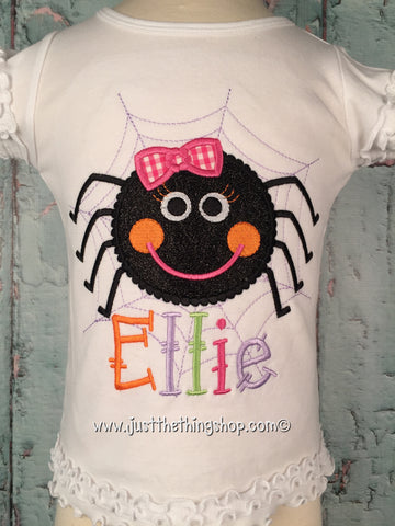Cute Spider Applique Girls Shirt - Just The Thing Shop