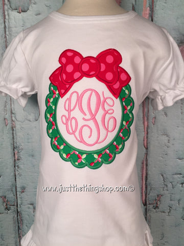 Christmas Wreath Applique Girls Shirt - Just The Thing Shop