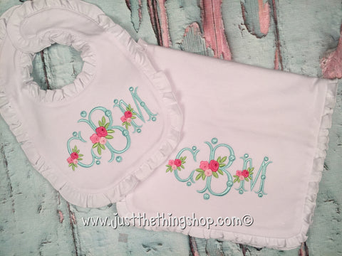Floral Monogram Ruffle Trim Bibs and Burps - Just The Thing Shop