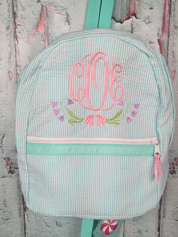 Floral Swag Monogram Backpack - Just The Thing Shop