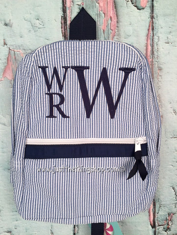 Stacked Block Letter Monogram Backpack - Just The Thing Shop