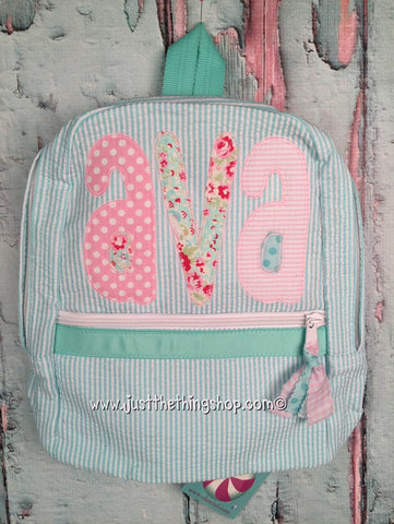 Applique Name Tall Skinny Font Backpack - Just The Thing Shop