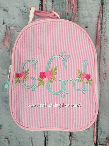 Floral Vintage Monogram Gumdrop Lunch Box - Just The Thing Shop