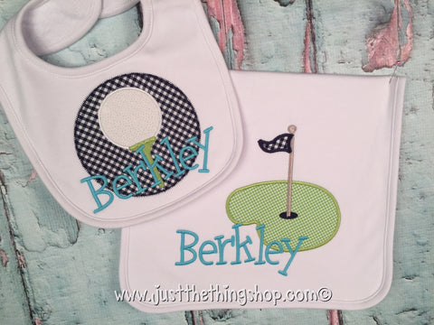 Golf Theme Bibs and Burps - Just The Thing Shop