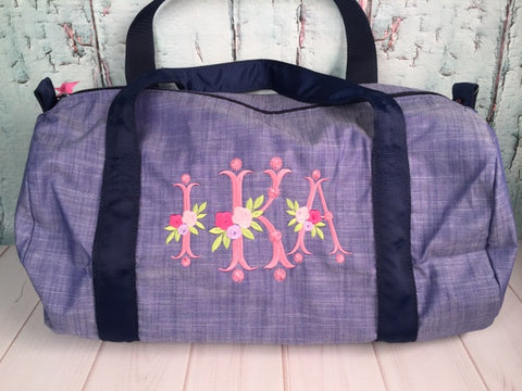 Vintage Floral Monogram For Girls Duffel - Just The Thing Shop