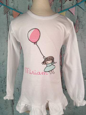 Balloon Girl Sketch Embroidered Girls Shirt - Just The Thing Shop