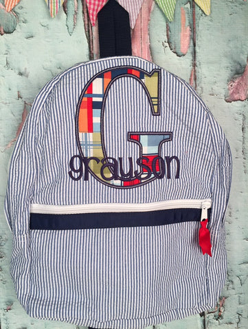 Block Letter Applique Monogram Backpack - Just The Thing Shop