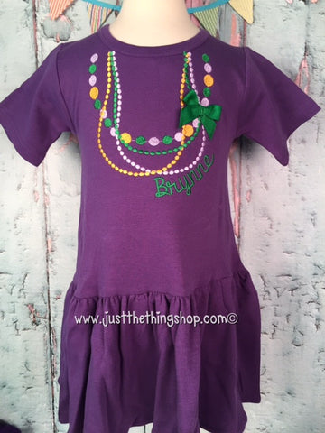 Mardi Gras Bead Monogram Pleat Bottom Dress - Just The Thing Shop